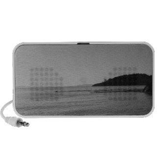 Black and White Ocean Sunset Portable Speaker