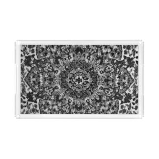 Black and White Oriental Rug Acrylic Tray