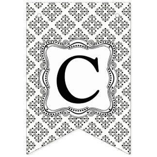 Black and White Ornate Elegance Bunting Flag. Bunting