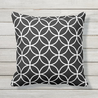 Black and White Outdoor Pillows - Circle Trellis