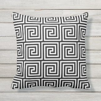 Black and White Outdoor Pillows Greek Key