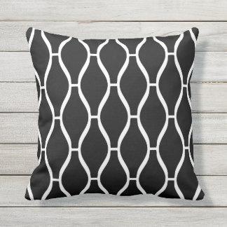 Black and White Outdoor Pillows - Greek Trellis
