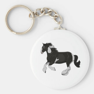 Black and White Paint Pinto Gypsy Vanner Horse Basic Round Button Key Ring