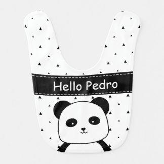 Black and White Panda Monochrome baby boy's Bib