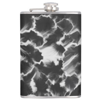 Black and white pattern hip flask