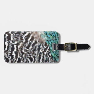 Black And White Peafowl Feathers Luggage Tag