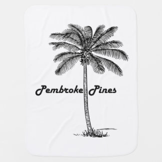 Black and White Pembroke Pines & Palm design Baby Blanket