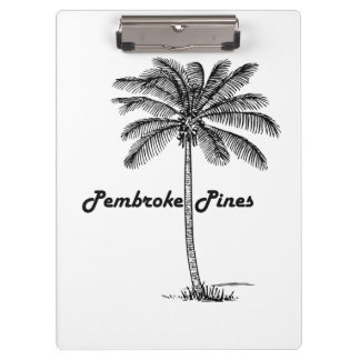 Black and White Pembroke Pines & Palm design Clipboard