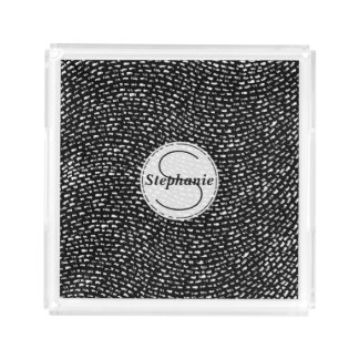 Black and White Personalized Chalk Line Pattern
