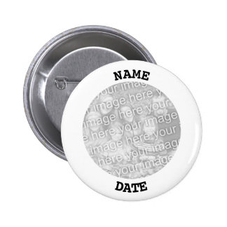 Black and White Personalized Round Photo Frame 6 Cm Round Badge