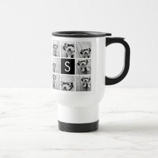 Black and White Photo Collage Custom Monogram Stainless Steel Travel Mug