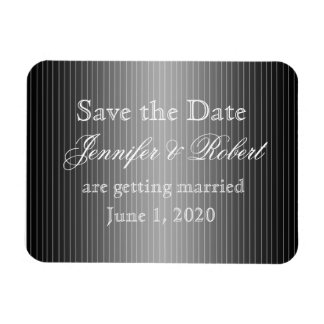Black and White Pinstripe Heart Save the Date Rectangular Magnet