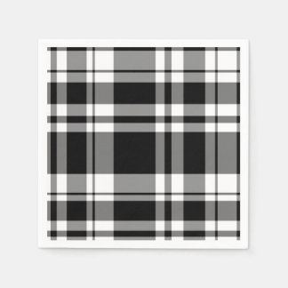 Black and White Plaid Paper Serviettes
