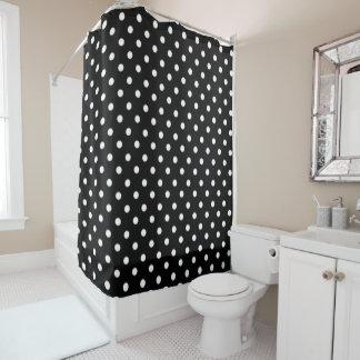 Black and White Polka Dot Print Shower Curtain