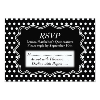 Black and White Polka Dot Quinceanera Card