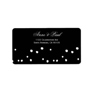 Black and white polka dots Address Labels