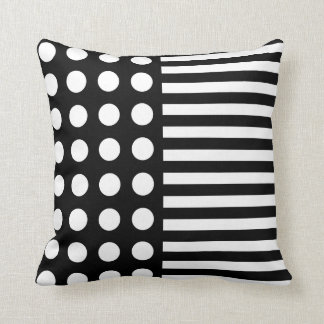 Black and White Polka Dots and Stripes Throw Cushions
