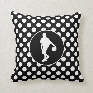 Black and White Polka Dots; Basketball Throw Pillow