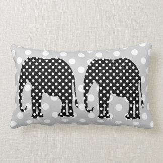 Black and White Polka Dots Elephant Pillow