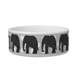 Black and White Polka Dots Elephant Cat Water Bowl