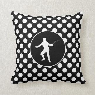 Black and White Polka Dots; Fencing Cushions