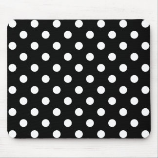 Black and White Polka Dots Pattern Mouse Pad