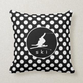 Black and White Polka Dots; Snow Ski Cushions