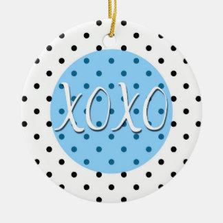 Black and White Polka Dots XOXO Hugs Kisses Christmas Ornament