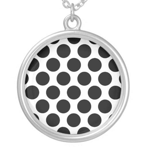 Black and White Polkadot pattern Custom Necklace