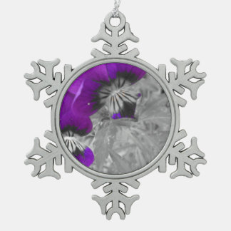 Black and White Purple Pansy Effect Snowflake Pewter Christmas Ornament