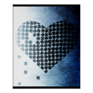 Black and White Puzzle Heart Poster