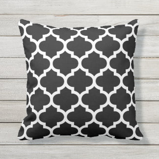 Black and White Quatrefoil Pattern Outdoor Pillows