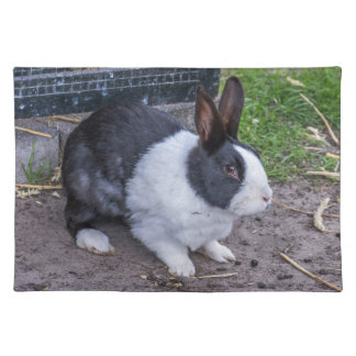 Black and white rabbit placemat