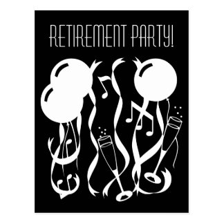 Black and white retirement party invite postcards