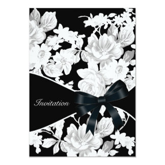 Black and White Rose Birthday Party Card