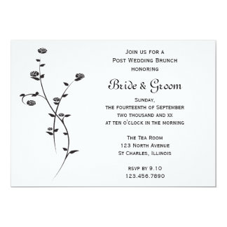 Black and White Roses Post Wedding Brunch Invite