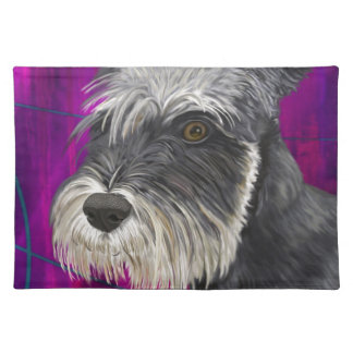 Black and White Schnauzer with Purple Background Placemat