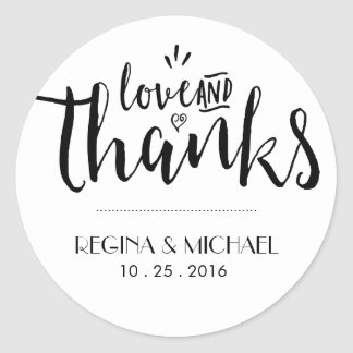 Black and White Script Wedding Thank You Sticker