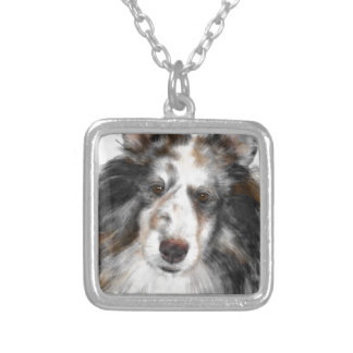 Black and white Sheltie Silver Plated Necklace