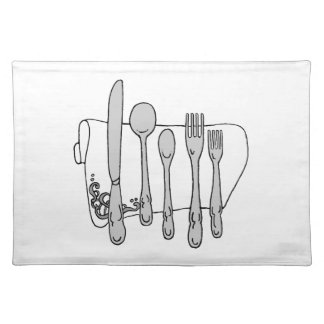 Black and White Silverware Design Placemat