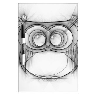 Black and White Sketch of Owl Dry Erase Board