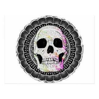 Black and white skull mandala pattern postcard