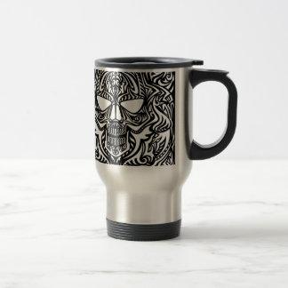 Black and white skull travel mug