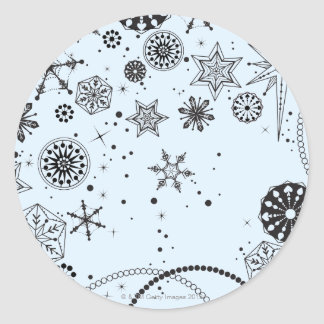 Black and White Snowflake Circle Classic Round Sticker