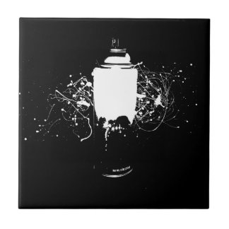 Black and White Spray Paint Can Splatter Art Small Square Tile