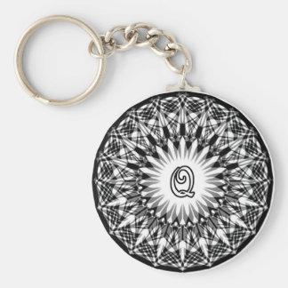 Black and White Star Flower Monogram Q Key Ring