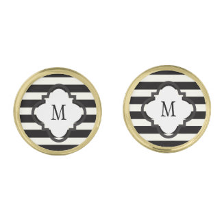 Black and White Stripe Gold Finish Cufflinks