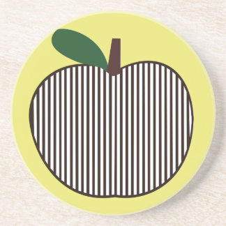 Black and White Striped Apple Coaster