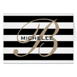 Black and white striped classy monogram note cards