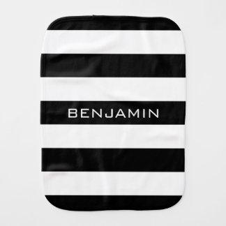 Black and White Striped Pattern Custom Name Baby Burp Cloth